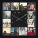 """DIY Personalized 12 Photo Collage Template Square Wall Clock<br><div class=""""desc"""">12 Photo and Text Template .. simply add your own photographs to this great wall clock .. easy to personalize .. customizable photo template clock from Ricaso - perfect gift-ideas</div>"""