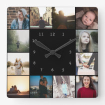 DIY Personalized 12 Photo Collage Template Square Wall Clock