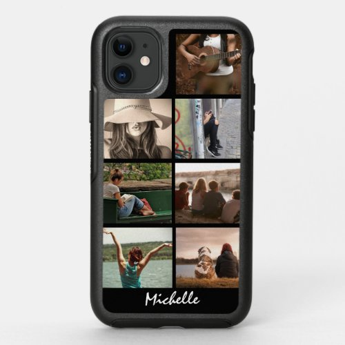 DIY Photo collage 7 picture your name black Phone Case