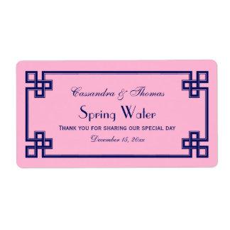 DIY Pink Navy Greek Key Frame H Water Bottle Label Shipping Label