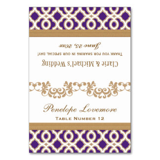 DIY Purple Gold Moroccan Fold-Over Place Cards