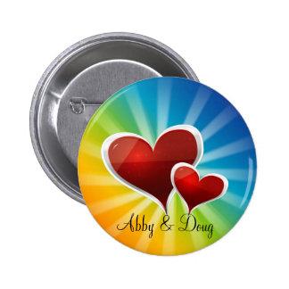 diy Rainbow hearts 2 Inch Round Button