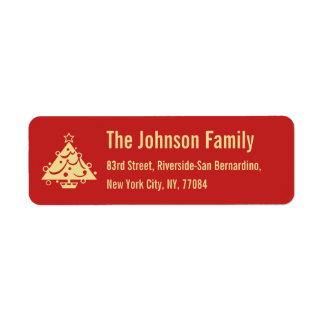 DIY Red Faux Gold Christmas Tree Holiday Address Label