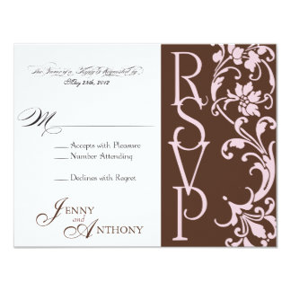 DIY RSVP simple elegante en chocolate y rosa Anuncio Personalizado