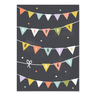 DIY Rustic Bunting Birthday lined Card