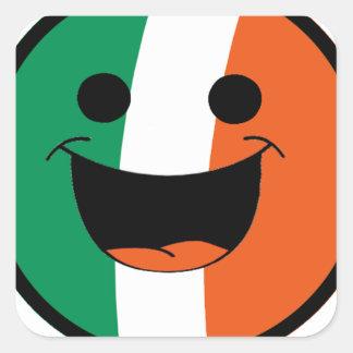 DIY St Patrick Irish Flag Smiley Face Hooligan Square Sticker