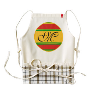 DIY Stripes Button + your monogram & ideas Zazzle HEART Apron