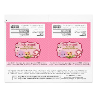 """DIY Sweet Jungle Babies 1.55oz Candy Bar Wrappers 8.5"""" X 11"""" Flyer"""