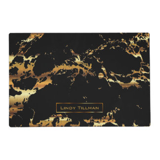 DIY Text Black and Gold Marble Design Placemat