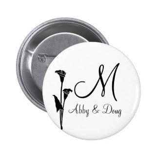 DIY Tulip logo with monogram 2 Inch Round Button