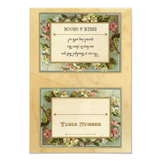 DIY Vintage Apple Blossom, Tea Stained Typography 3.5x5 Paper Invitation Card
