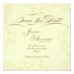 """DIY Vintage Save the Date Wedding Announcement 5.25"""" Square Invitation Card"""