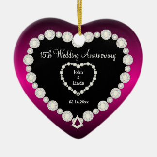 DIY Wedding Anniversary in Fuchsia & Faux Diamonds Ceramic Ornament