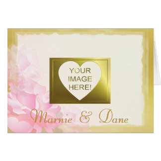 DIY Wedding Invitation   Golden Edge Pink Rose Set