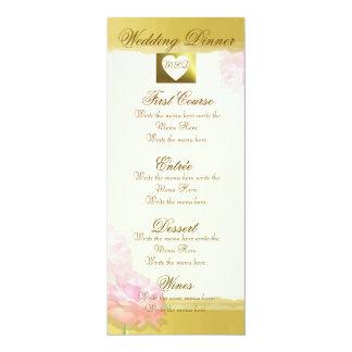DIY Wedding Menu   Golden Edge Pink Rose Set Card