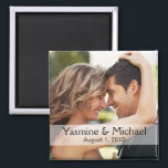 """DIY Wedding Photo Square Keepsake Favor Magnet<br><div class=""""desc"""">All you need is a great photograph to upload, then write your text on the sheer white strip overlay and Voila! you&#39;ve got a cool, one of kind, square keepsake magnet to keep for yourself or give out to friends and family as a really nice wedding favor. For info or...</div>"""