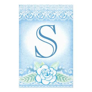 DIY Wedding Rose Lace Monogram for Bunting Flyer