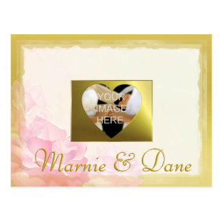 DIY Wedding Save the Date, Golden Edge Flower Set Postcard