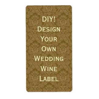 DIY Wedding Wine Label Gold Damask