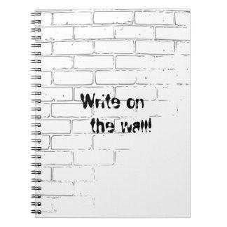 DIY White Brick Wall to write Graffiti Notebook