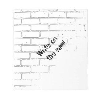 DIY White Brick Wall to write Graffiti Notepad