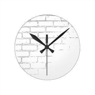 DIY White Brick Wall to write Graffiti Round Clock