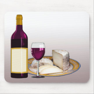 DIY WINE BOTTLE LABEL, WINE GLASS, CHEESE PERSONAL MOUSE PAD