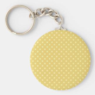 DIY Yellow Polka Dot Background Zazzle Gift Basic Round Button Keychain