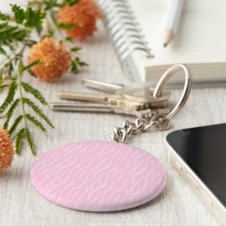 DIY You Design It Make Your Own Pink Zebra Gift Basic Round Button Keychain