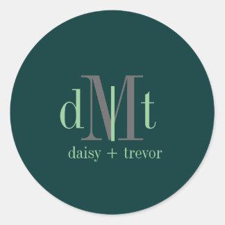 DIYcolors Hunter Green+Graphite+Mint Monogram Classic Round Sticker