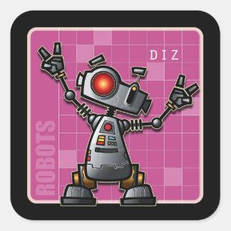 Diz the Robot Square Stickers
