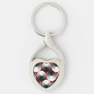 Dizzy circles Silver-Colored Heart-Shaped metal keychain