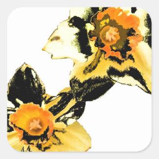 Dizzy Daff - Yellow Square Stickers