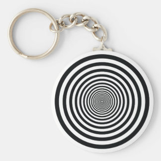 dizzy illusion black and white circle art vo1 keychain