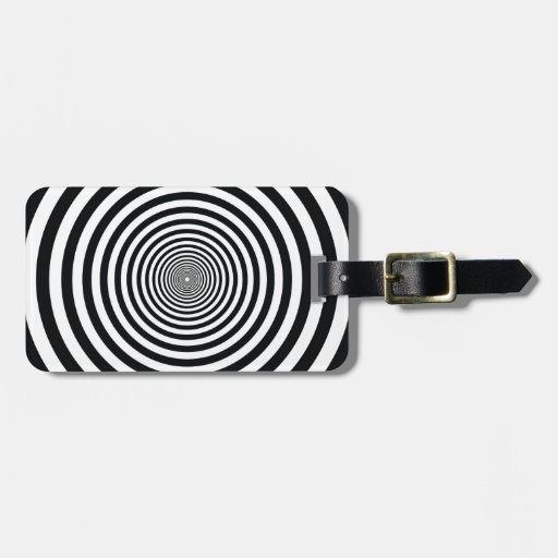 dizzy illusion black and white circle art vo1 travel bag tags