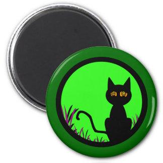 Dizzy Moon Cat 2 Inch Round Magnet