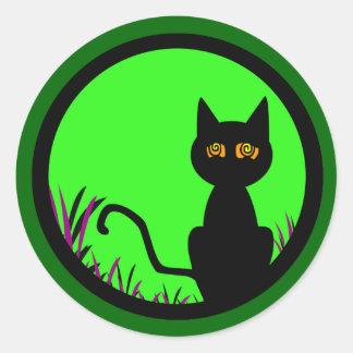 Dizzy Moon Cat Classic Round Sticker