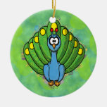 DIZZY PEACOCK Double-Sided CERAMIC ROUND CHRISTMAS ORNAMENT