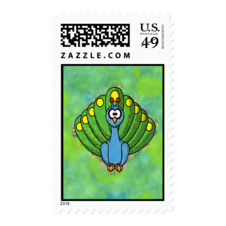 DIZZY PEACOCK POSTAGE STAMP