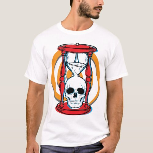 Dizzy skull and hourglass_for light shirts