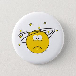 Dizzy Smiley Face Pinback Button