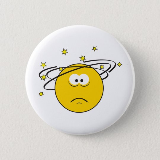 Dizzy Smiley Face Pinback Button