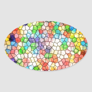 Dizzy stained glass oval sticker