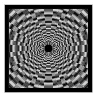 Dizzying Black and Gray Tunnel Poster
