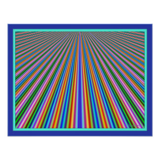 Dizzying Color Lines Highway Poster