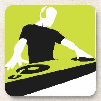 dj-311764 dj disc jockey green black deck records drink coasters