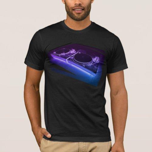 DJ 3D Neon Turntable T-shirt