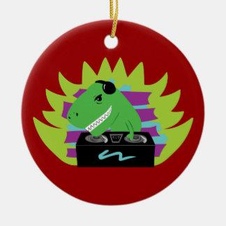 Dj-asaurus Rex Ceramic Ornament