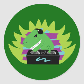 Dj-asaurus Rex Classic Round Sticker