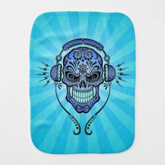 DJ azul azucara el cráneo con los rayos de la luz Paños Para Bebé